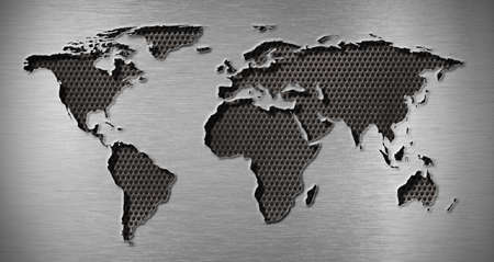 metal grate: metal hole in world map shape