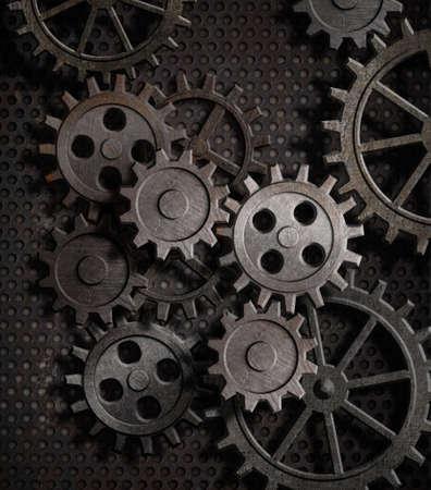 tandwielen: roestige tandwielen metaal achtergrond Stockfoto