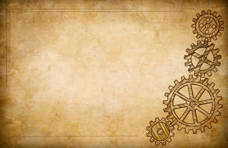 Grunge gears and cogs drawing background photo