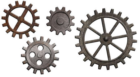 engrenages: engrenages m�talliques rouill�s mis en isol� sur blanc Banque d'images