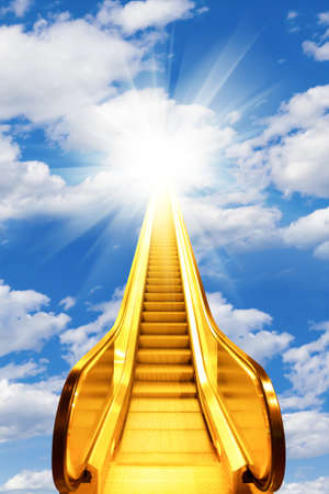 golden escalator stairs to the shine in the sky photo