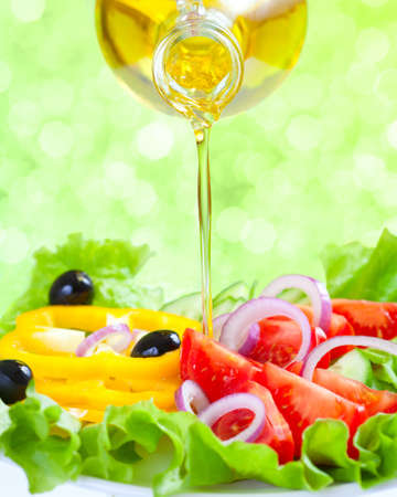 Healthy lifestyle  Fresh salad with oil  Food still life  photo