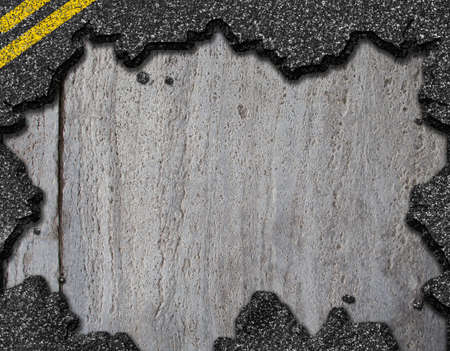Hole in asphalt road background photo