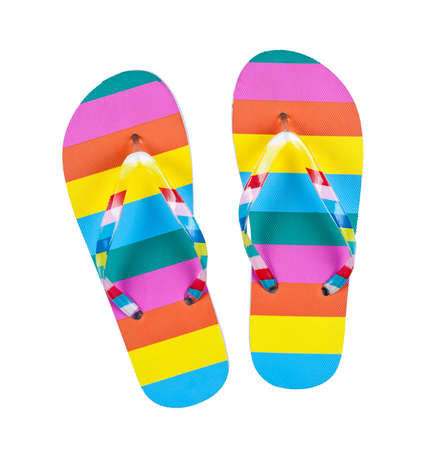 flip flops: Colourful flip flops isolated on white