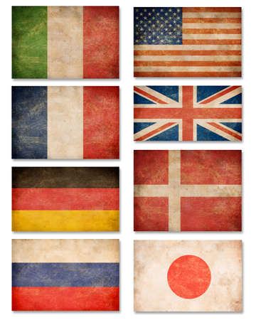 Collection of grunge flags  USA, Great Britain, Italy, France, Denmark, Germany, Russia, Japan photo