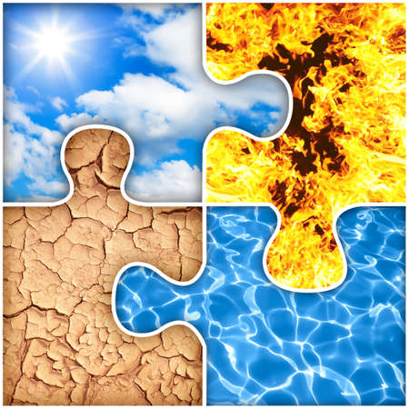 Four basic elements of nature puzzle : air, fire, earth, water photo
