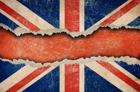 Grunge British flag on ripped paper photo