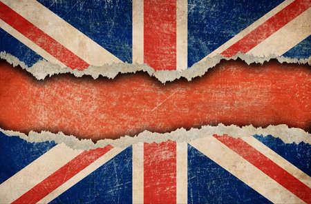 Grunge British flag on ripped paper Stock Photo - 14103490