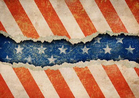 Grunge ripped paper USA flag pattern photo