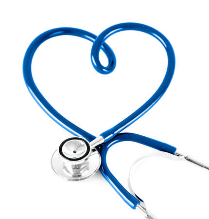 stethoscope in shape of heart concept. blue color. photo