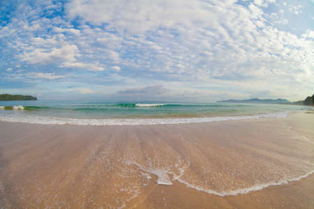 wide: wide angle shot of tropical beach Stock Photo