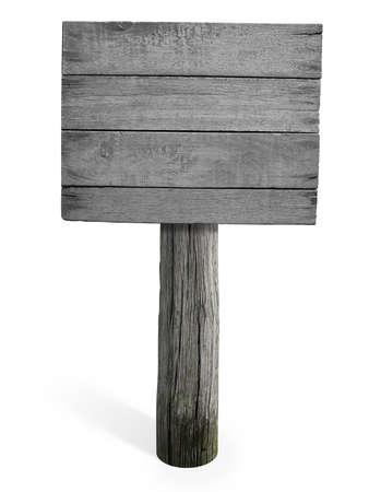 Grunge empty wooden signboard isolated on white background Stock Photo - 14619269