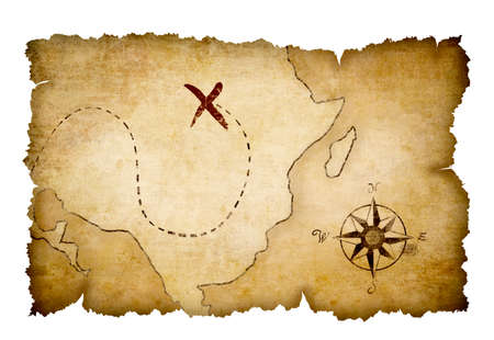 cofre del tesoro: Piratas mapa con la ubicaci�n del tesoro marcado