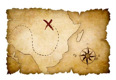schatkaart: Pirates in kaart te brengen met een duidelijke schat locatie