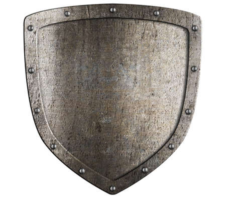 metal shield: Old metal medieval shield. Crest pattern. Stock Photo