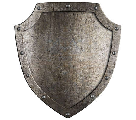 protective shield: Old metal medieval shield. Crest template. Stock Photo