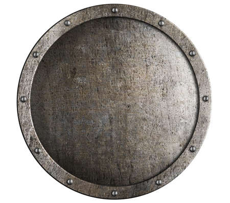 metal shield: Old round metal medieval shield Stock Photo