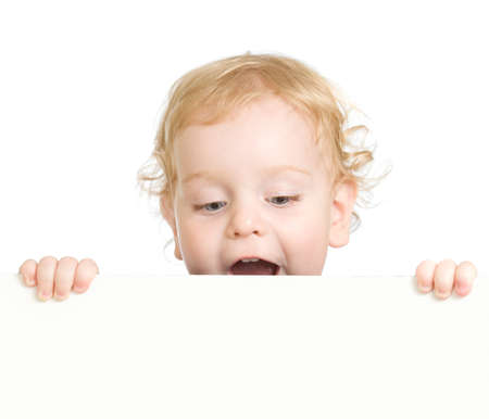 Curly child holding blank advertising banner photo