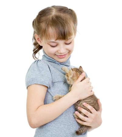 british girl: Girl holding British kitten isolated on white