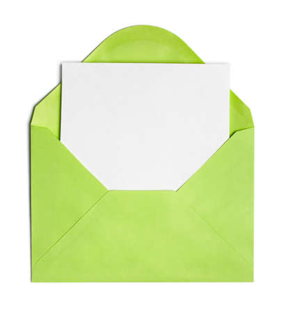 envelope: Opened green envelope or cover with blank paper sheet included Stock Photo
