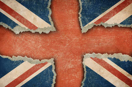 Ripped cardboard in form of British flag photo