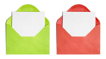 Set of isolated opened envelopes or cover with paper sheet Stock Photo - 14967342