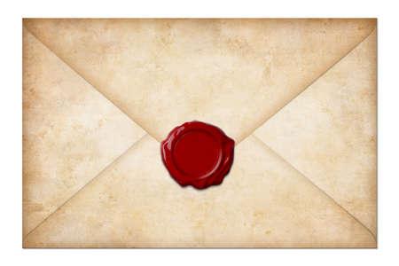 koperty: grunge koperta mail lub list z woskową pieczęcią na białym Zdjęcie Seryjne