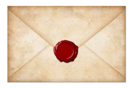 grunge mail envelope or letter with wax seal isolated on white photo