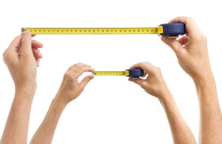 cinta metrica: Las manos con cinta m�trica conjunto aislado en blanco