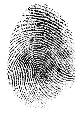 identity thieves: fingerprint pattern isolated on white Stock Photo