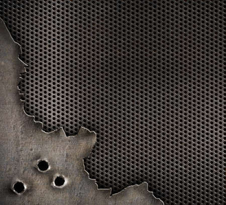 metal with bullet holes military background photo