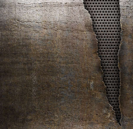 torn metal: grunge metal background with ripped hole