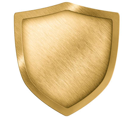 golden shield: golden metal shield or crest isolated on white