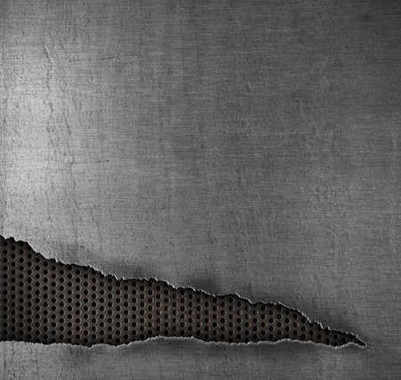 malla metalica: grunge, fondo de metal con agujero rasgado