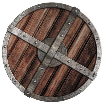 vikingo: Antiguo escudo vikingo de madera con borde met�lico aislado en blanco
