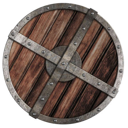 Old viking wooden shield with metal border isolated on white photo