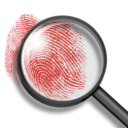 criminals: blood fingerprint through magnifying glass Stock Photo