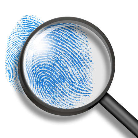 larceny: fingerprint through magnifying glass Stock Photo