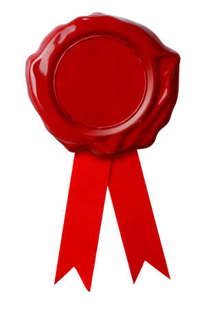 Red wax seal with ribbon isolated on white photo