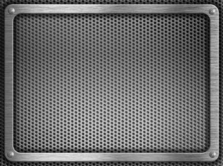 metal grate: metal frame with screws over grate background Stock Photo