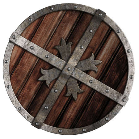 vikingo: Antiguo escudo cruzado de madera con borde met�lico aislado en blanco Foto de archivo
