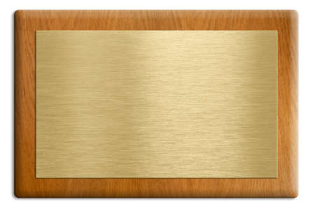 Wooden plaque with golden plate isolated on white. photo