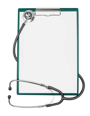 panoya: Boş kağıt levha ve stetoskop ile tıbbi panoya