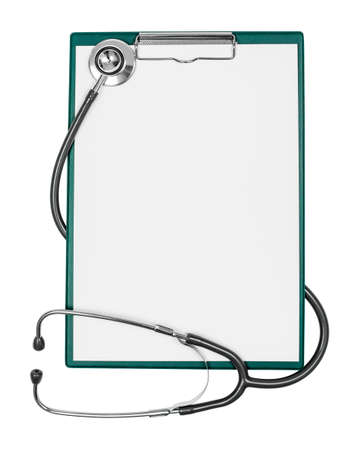 medical clipboard with blank paper sheet and stethoscope photo