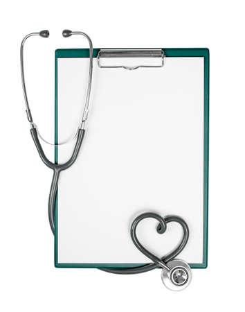 medical clipboard with stethoscope in shape of heart photo
