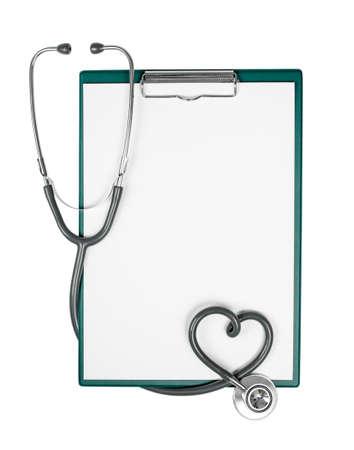 veterinary: Portapapeles m�dico con estetoscopio en forma de coraz�n