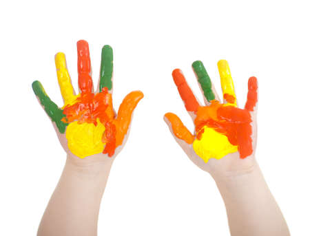 kids painted hands: Kids hands painted in bright colors isolated on white