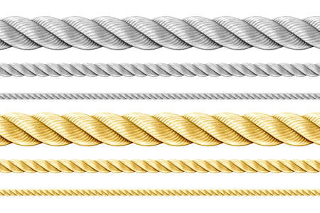 gold string: Steel and golden ropes set isolated on white