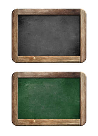 wooden frame: old small blackboards set with wooden frame Stock Photo