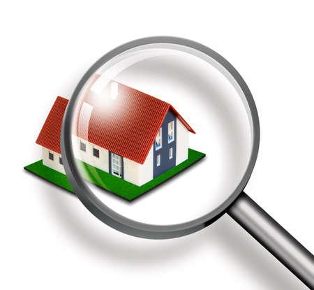 rental house: Casa a trav�s de la lupa sobre fondo blanco Foto de archivo